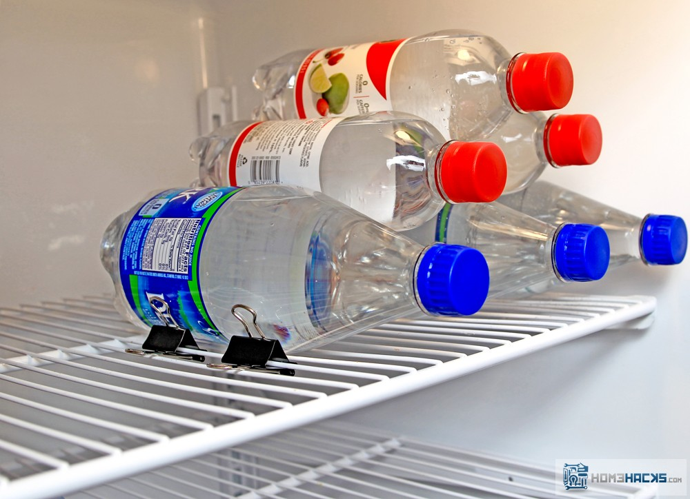 Stack Bottles or Cans in Fridge to Save Space - HomeHacks