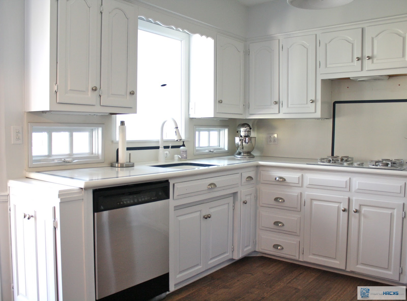 Stainless steel contact paper dishwasher makeover homehacks for Kitchen colors with white cabinets with papier polaroid