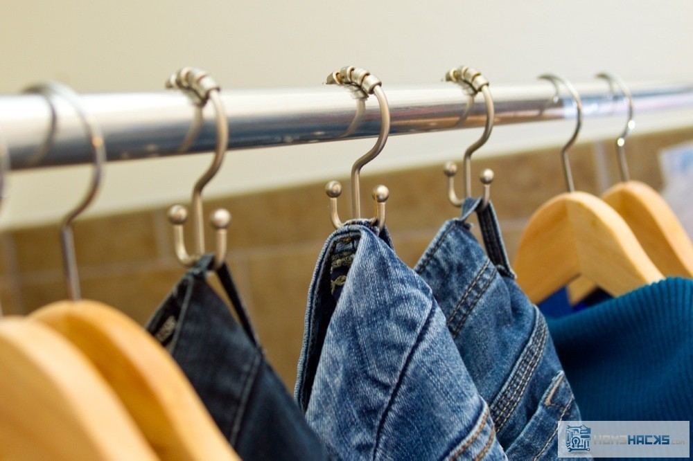 Organizing Jeans With A Clever Use Of Cheap Shower Curtain