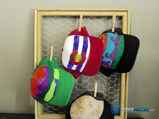 DIY Chicken Wire Hat Organizer