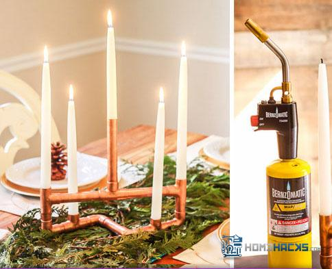 DIY Copper Pipe Candle Holder Centerpiece, Photo Courtesy of Brittany Bailey