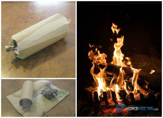 lint roll fire starter