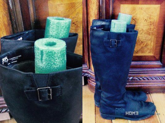 Use Pool Noodles as Boot Inserts