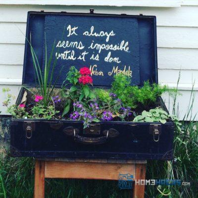 Transform an old trunk into an outdoor planter