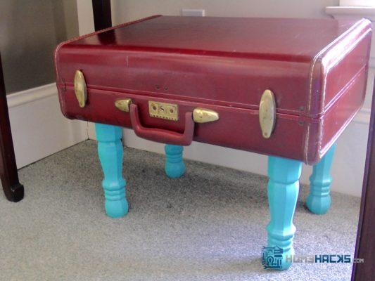 make a table out of a vintage suitcase