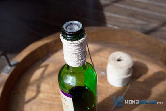 absorb bottle drips with twine
